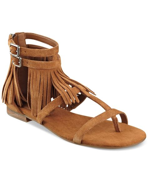 gladiator sandals with fringe marc fisher laryn fringe gladiator sandals in brown