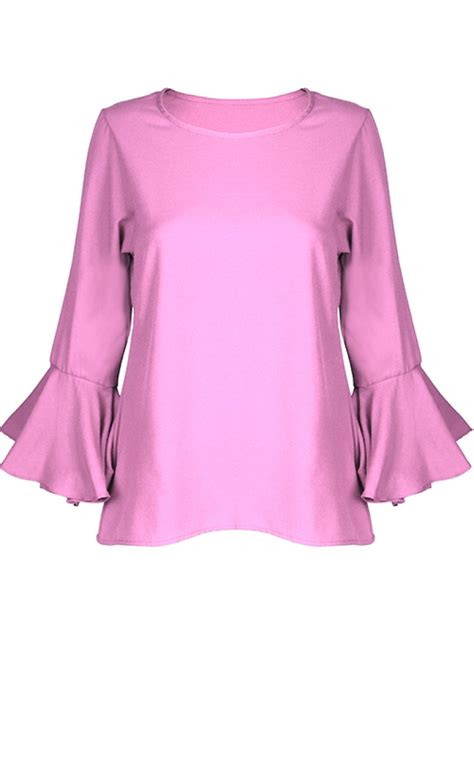 Flared Sleeve Blouse flared trumpet sleeve blouse pink tops