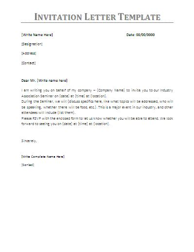 business letter template invitation letter of invitation for business visa sle templates