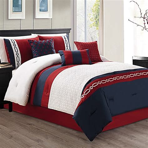 red and white comforter sets king ozias 7 piece comforter set in red navy bed bath beyond