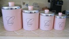 set 3 pink cup cake coffee sugar tea kitchen storage jars 1000 images about vintage ransburg goodness on pinterest