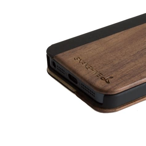 Wood Apple Iphone 5 5s by Snakehive 174 Real Wood Leather Wallet Flip Cover For