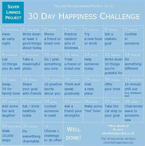 21 days to happiness books 30 day happiness challenge list burns