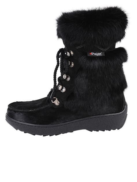 pajar fur boots pajar boinda rabbit fur boots in black lyst