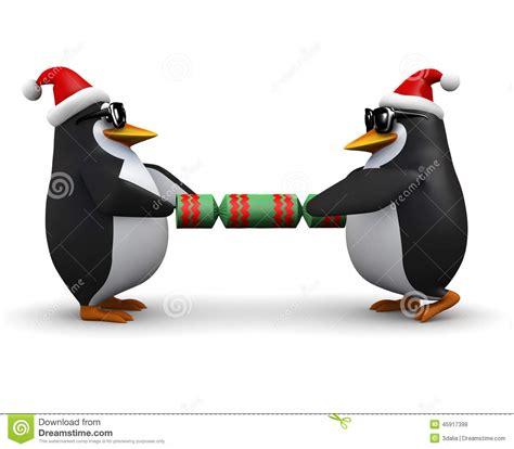 3d penguins pulling a christmas cracker stock illustration