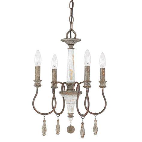 antique white metal mini chandelier allen co 4 light antique chandelier 9a193a the home depot