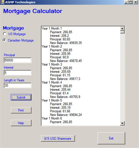 mortgage amortization table mortgage amortization in canada us canadian mortgage calculator 1 0 screenshots