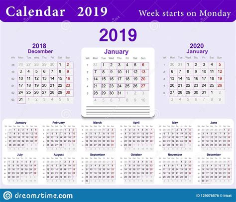 calendar grid    english language wall template  blue week starts  monday