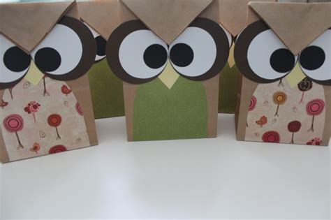 Owl Paper Bag Craft - owl treat bags made from brown paper bags and