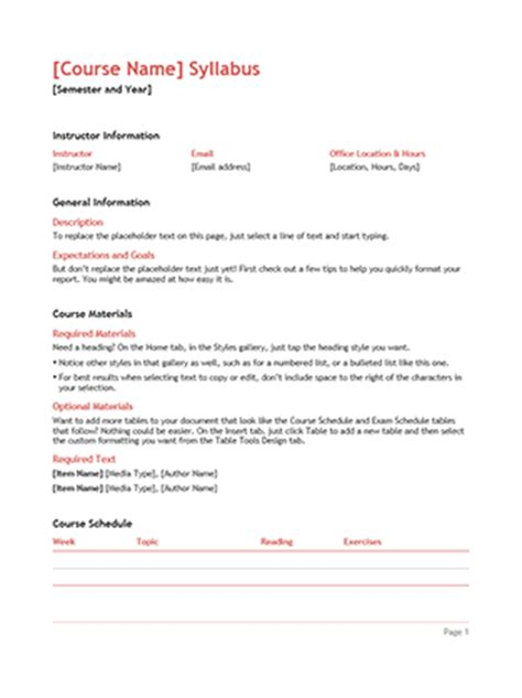 class syllabus template syllabus office templates