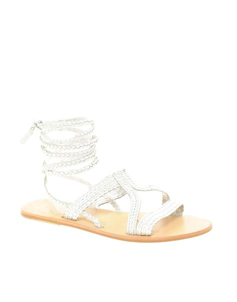 tie up flat sandals asos asos fiji leather tie up flat sandals in white lyst
