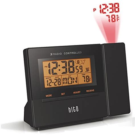 hito atomic radio controlled projection alarm clock w date temperature week alarm status