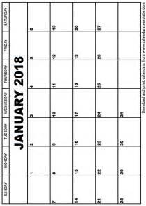 january calendar template january 2018 calendar template