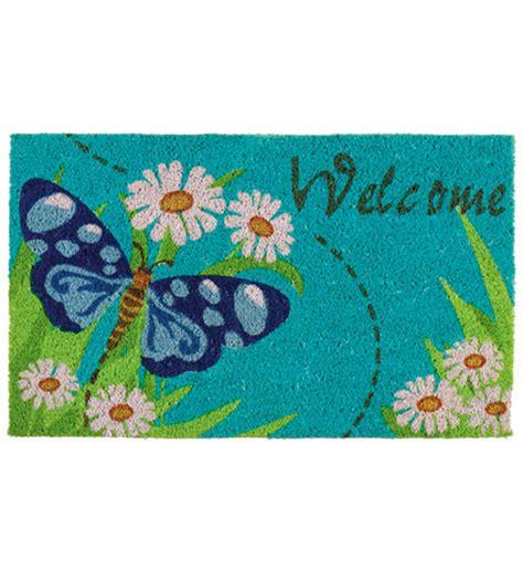 Butterfly Doormat - welcome butterfly coir doormat in doormats