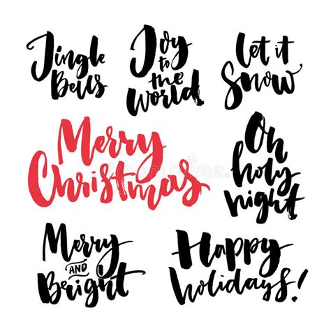 merry christmas text  seasonal  handwritten brush calligraphy words  greeting