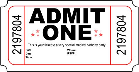 Printable Tickets Invitations | free printable birthday invitations new calendar