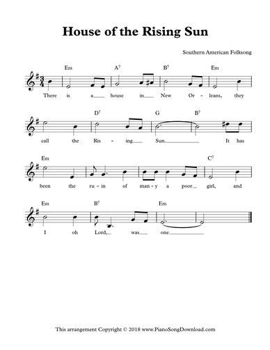 House of the Rising Sun, free lead sheet with melody