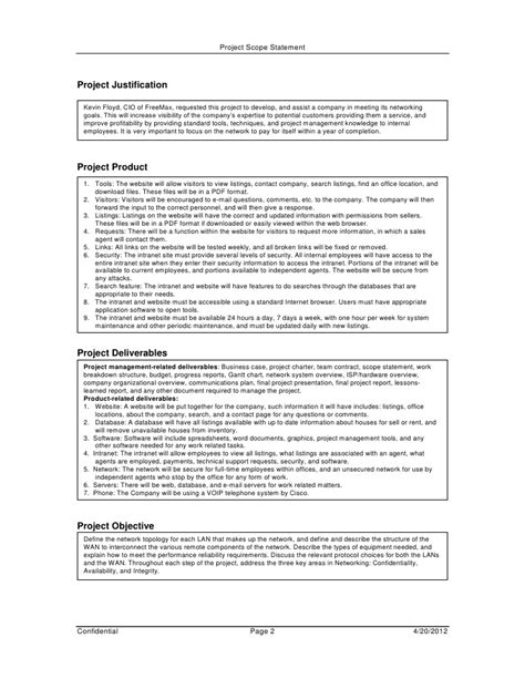 planning statement template project scope management plan project scope template