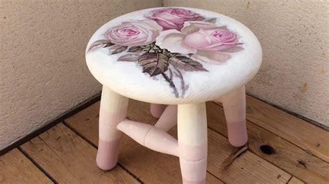 chalk paint y decoupage taburete de madera decorado con decoupage y chalk paint