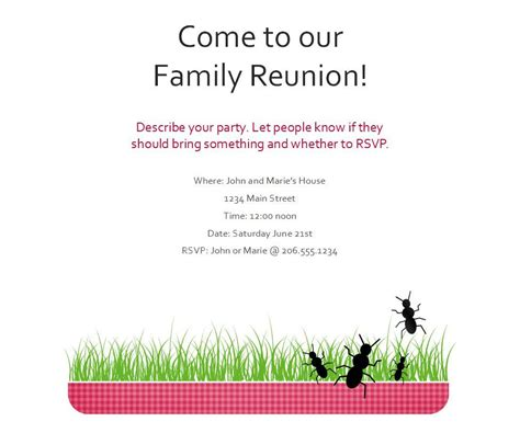 invitation letter for family reunion free sle