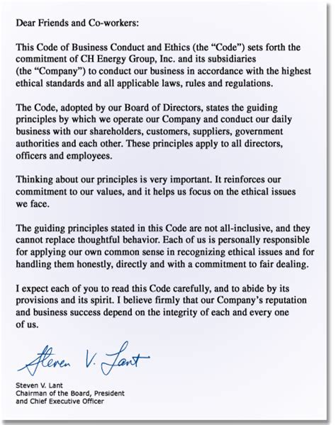 Business Introduction Letter For Canada Ch Energy Code Of Conduct