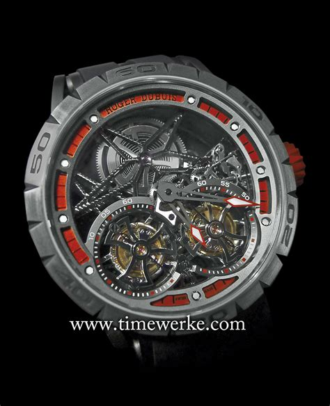 Roger Dubuis Excalibur Dual Tourbillon Black roger dubuis excalibur spider skeleton flying tourbillon the spin on strength timewerke