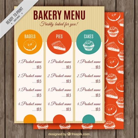 Vintage Bakery Menu Template Vector Premium Download Bakery Menu Template