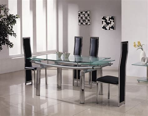 Glass Extending Dining Table Sets Delta Mega Extending Glass Chrome Dining Table And Chairs