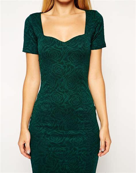 Qireya Texture Bodycon Midi Dress asos midi bodycon dress with sweetheart neck in floral texture in green lyst