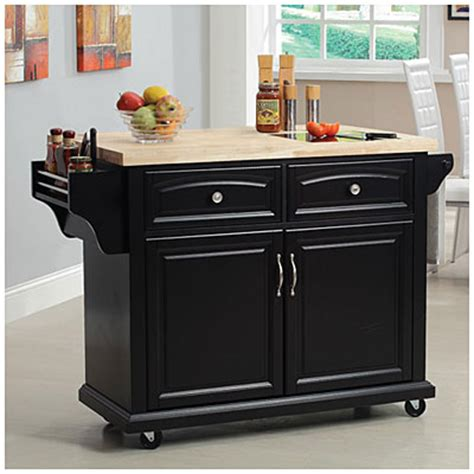 view curved door kitchen cart with granite insert deals at big lots