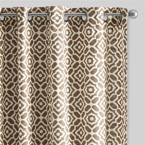 brown patterned curtains brown floral tile cotton curtains set of 2 world market
