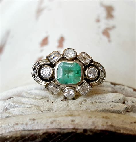vintage antique deco emerald and ring in 14k white