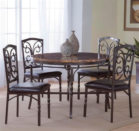 5 Table Set by Bernards Tuscan 5 Metal Faux Marble Dinette Table