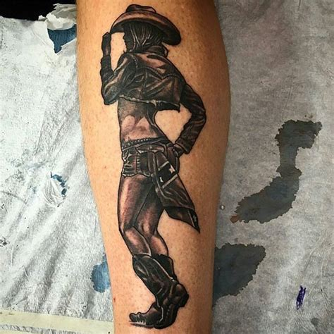 instagram pin up tattoo black grey pinup cowgirl remington tattoo parlor