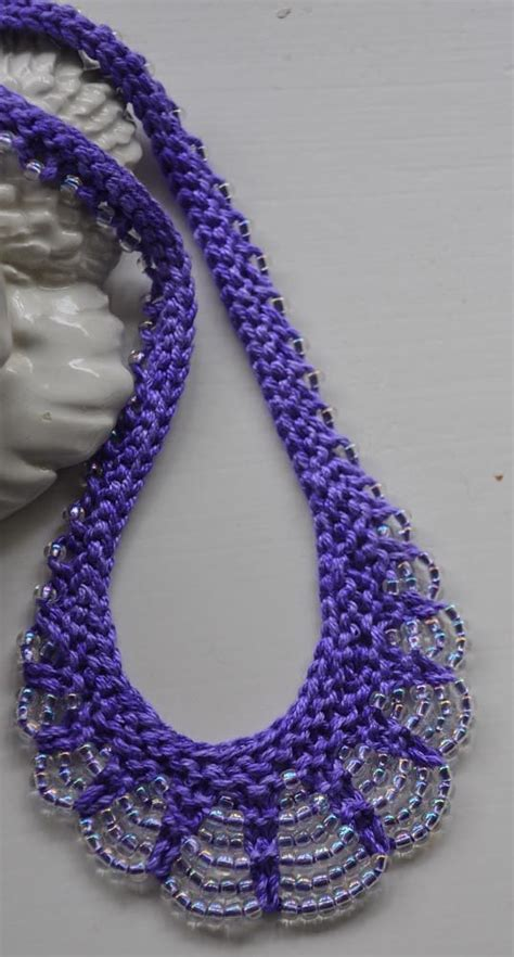 knitted beaded necklace knitting pattern for scallop edge beaded necklace the