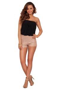strapless bronzed shorts foil shimmer fitted dressy