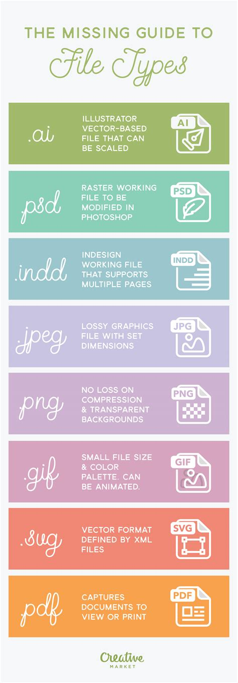 top layout guide missing infographic the missing guide to file types creative