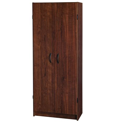 wardrobe cabinet with shelves in cherry wood finish