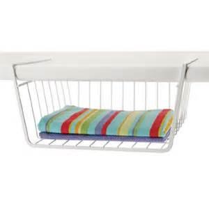 Organized living under shelf basket white new