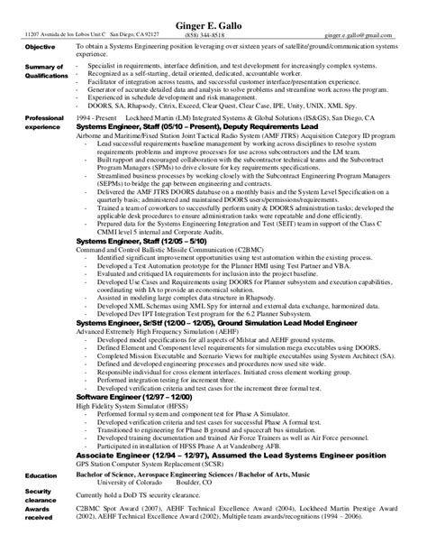 Systems Engineer Resume Sle by Systems Engineer Resume 28 Images Systems Engineer