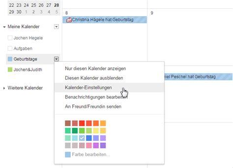 im kalender geburtstage verwalten arbeiten mit