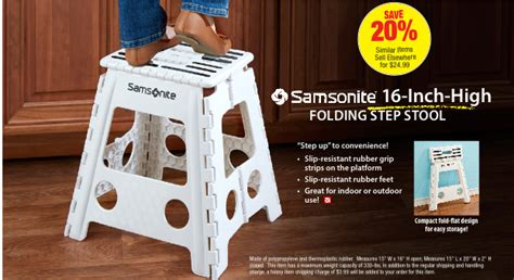 Samsonite 16 Inch High Folding Step Stool by Pch Merchandise Deals Are Really Cookin This Fall Pch