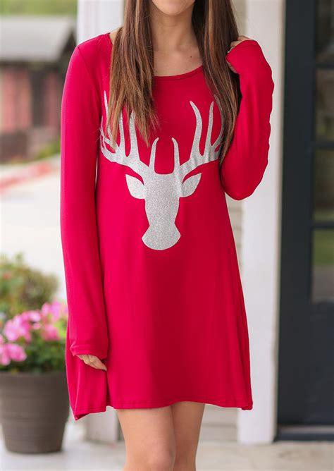 christmas sparkle reindeer printed casual dress fairyseason