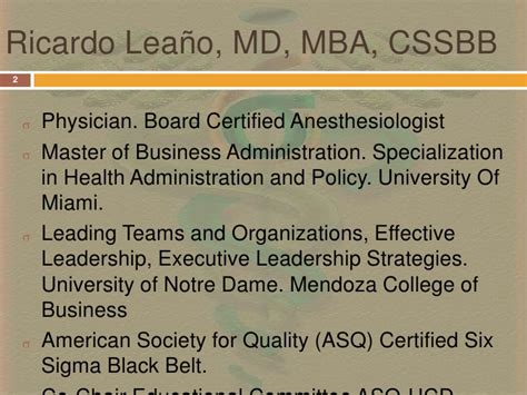Certified Mba Number by Lean Six Sigma Healthcare