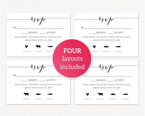 Rsvp Card With Meal Icons 183 Wedding Templates And Printables Meal Card Template