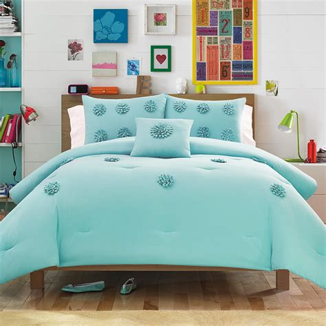 Aqua Comforter Set by Vogue Textured Blue Aqua Comforter Set From