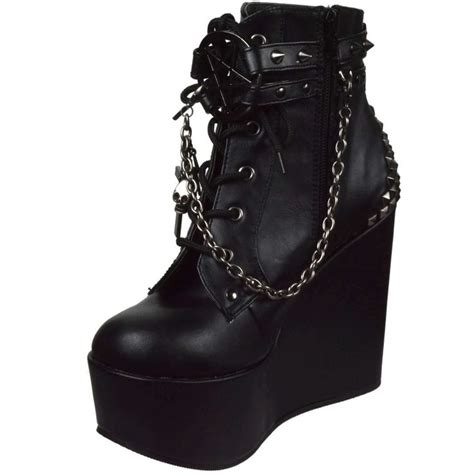 Best Quality Wedges Gothick Hitam details about demonia wedge platform ankle boot
