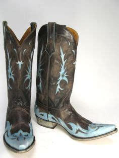 mens blue cowboy boots contemporary rock styling on s denim