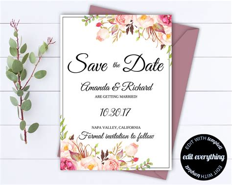 wedding save the date templates floral save the date wedding template floral save the