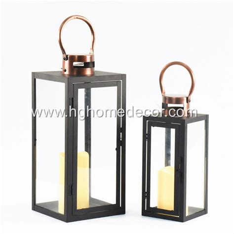 black metal lantern with copper top set of 2